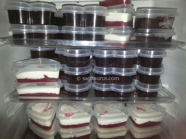 anis chocolate moist cake and red velvet cheese cake