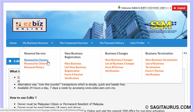 ezBiz Online SSM - Renewal by Owners