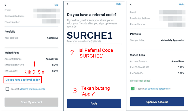 Wahed Invest referral code SURCHE1